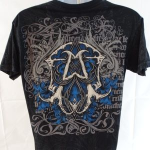 Affliction Mens MEDIUM Distressed Black Graphic T
